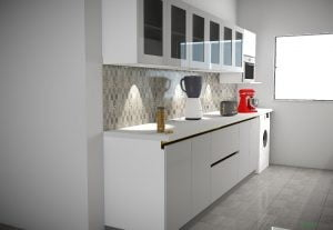 I will make a basic 3D rendered view, for a kitchen