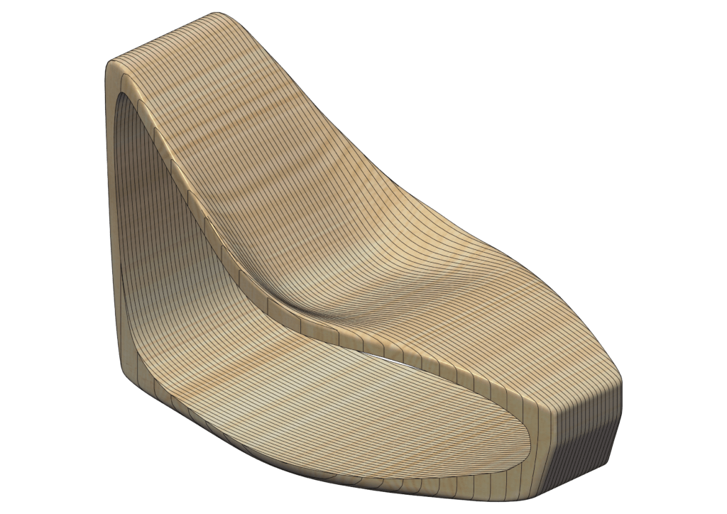 3d modelling of wooden chair